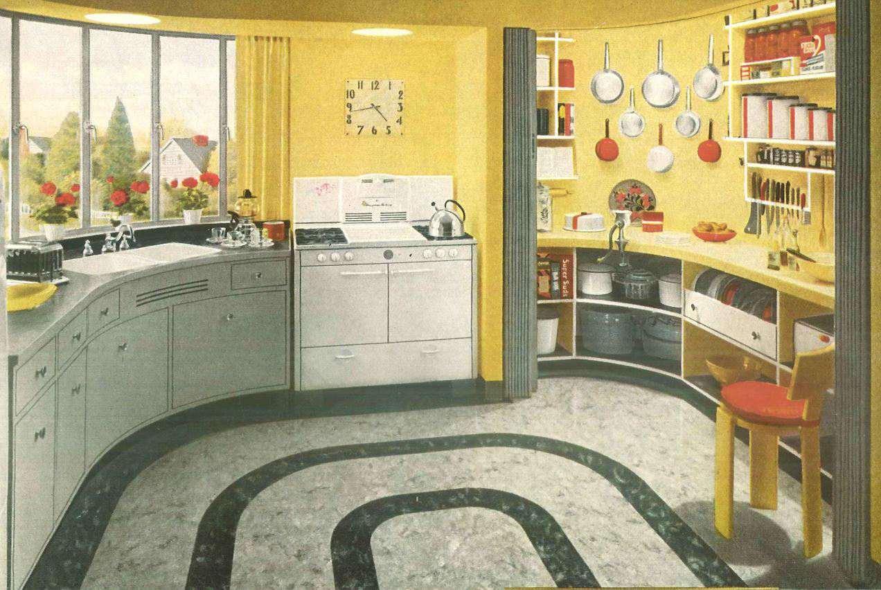 Diseño de cocina de 1940