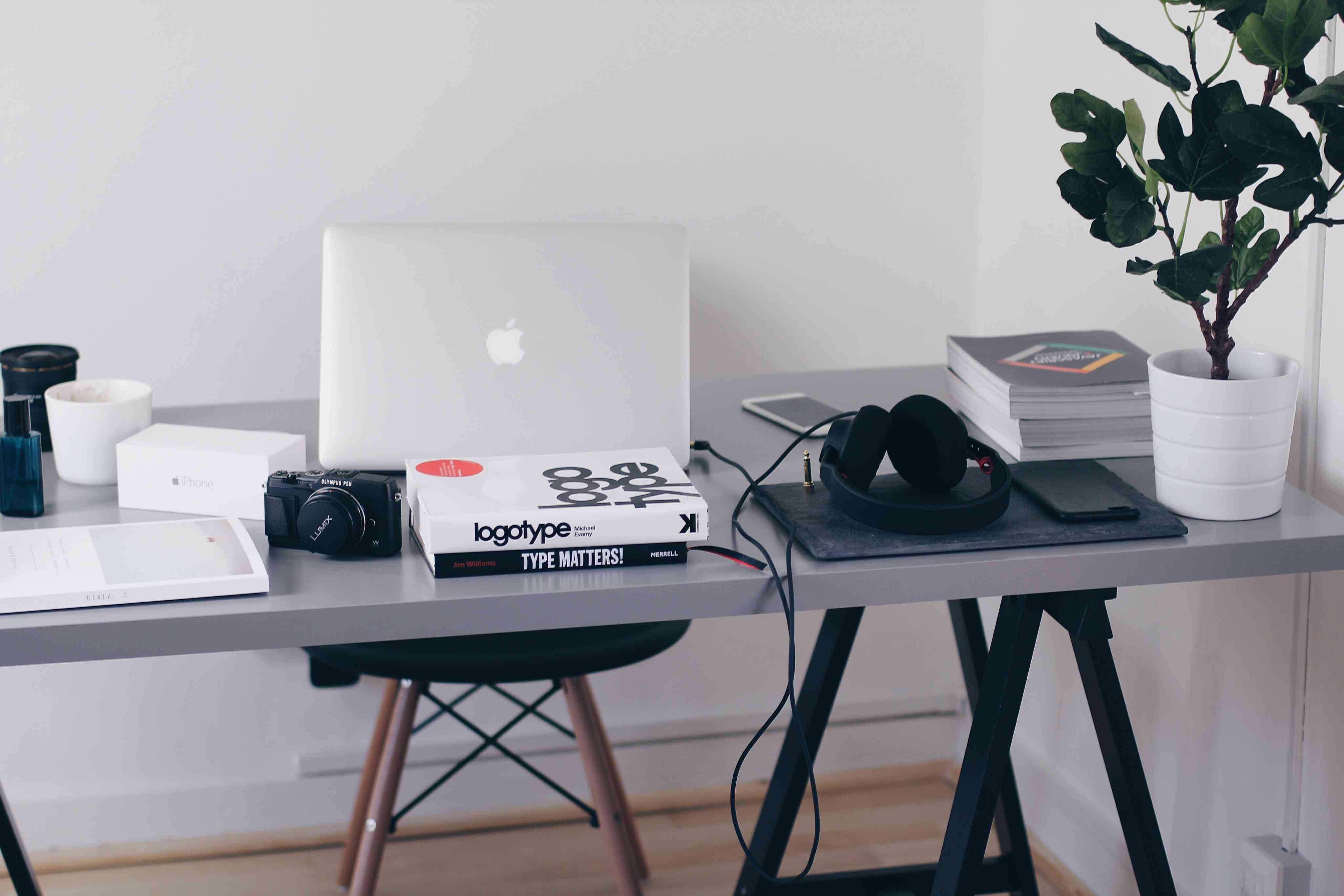 home office desk with plant and books