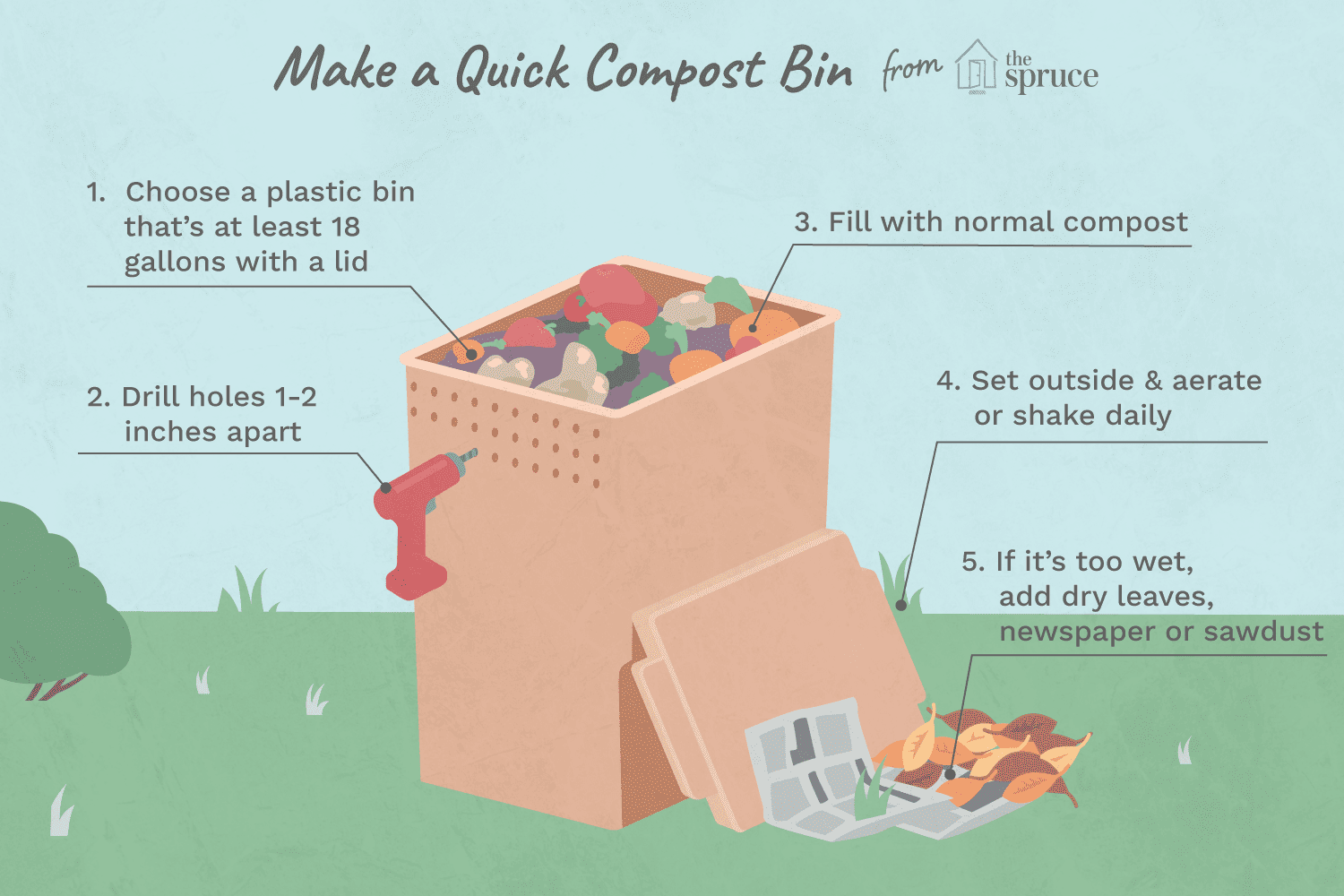 How To Make A Compost Bin Using Plastic Storage Container
