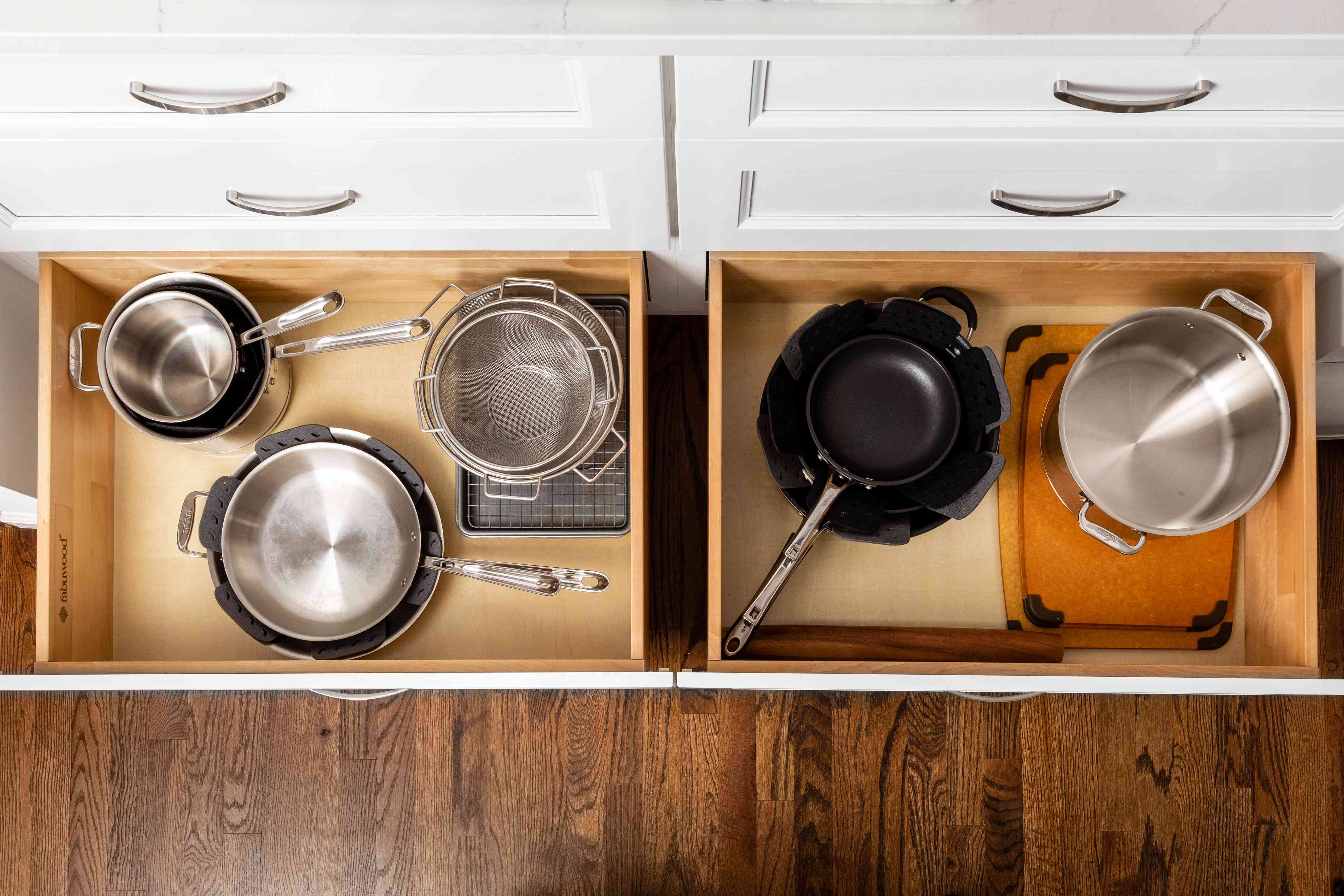 storing pots and pans in drawers