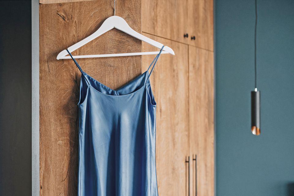 satin garment on a hanger