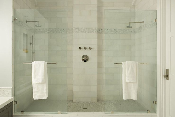 A marble tile double shower