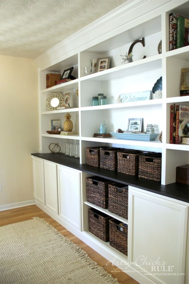 White built-ins in a living room