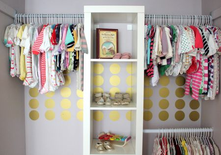 00ad6aae817 IKEA closet with organized baby clothes