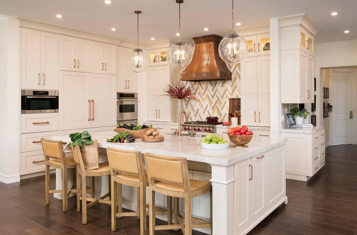 multicolored herringbone kitchen backsplash