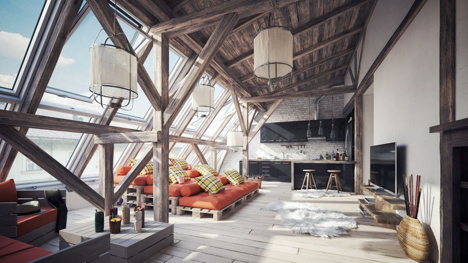 Cozy Scandinavian Attic Loft Interior Scene (Toned Image)