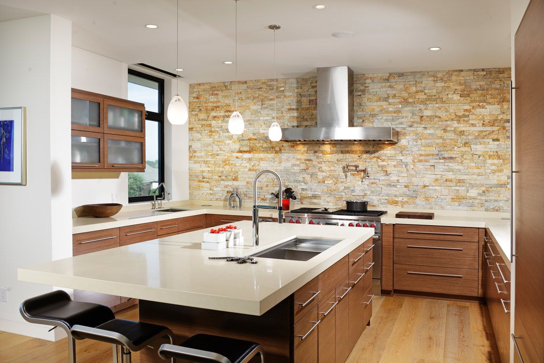 Stacked stone in contemporary kitchen