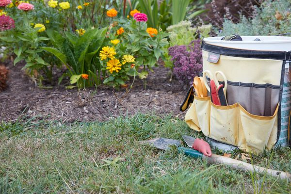 Gardening bag with tools in pockets and shovels in front next to flower garden