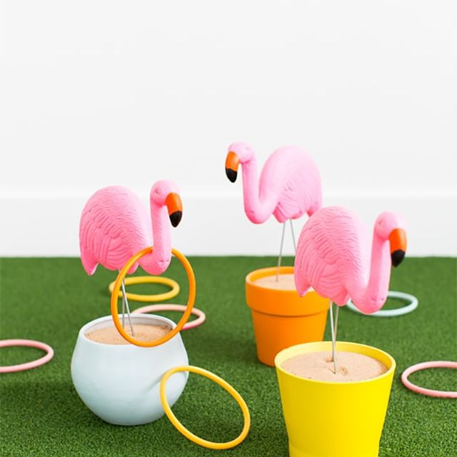 Plastic flamingos with rings