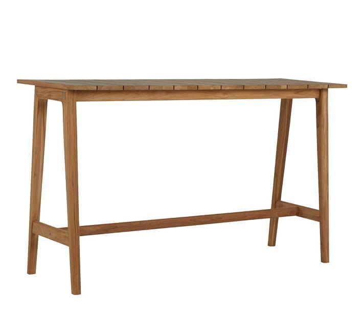 "Pottery Barn Adriatic 71"" Teak Bar Height Table"