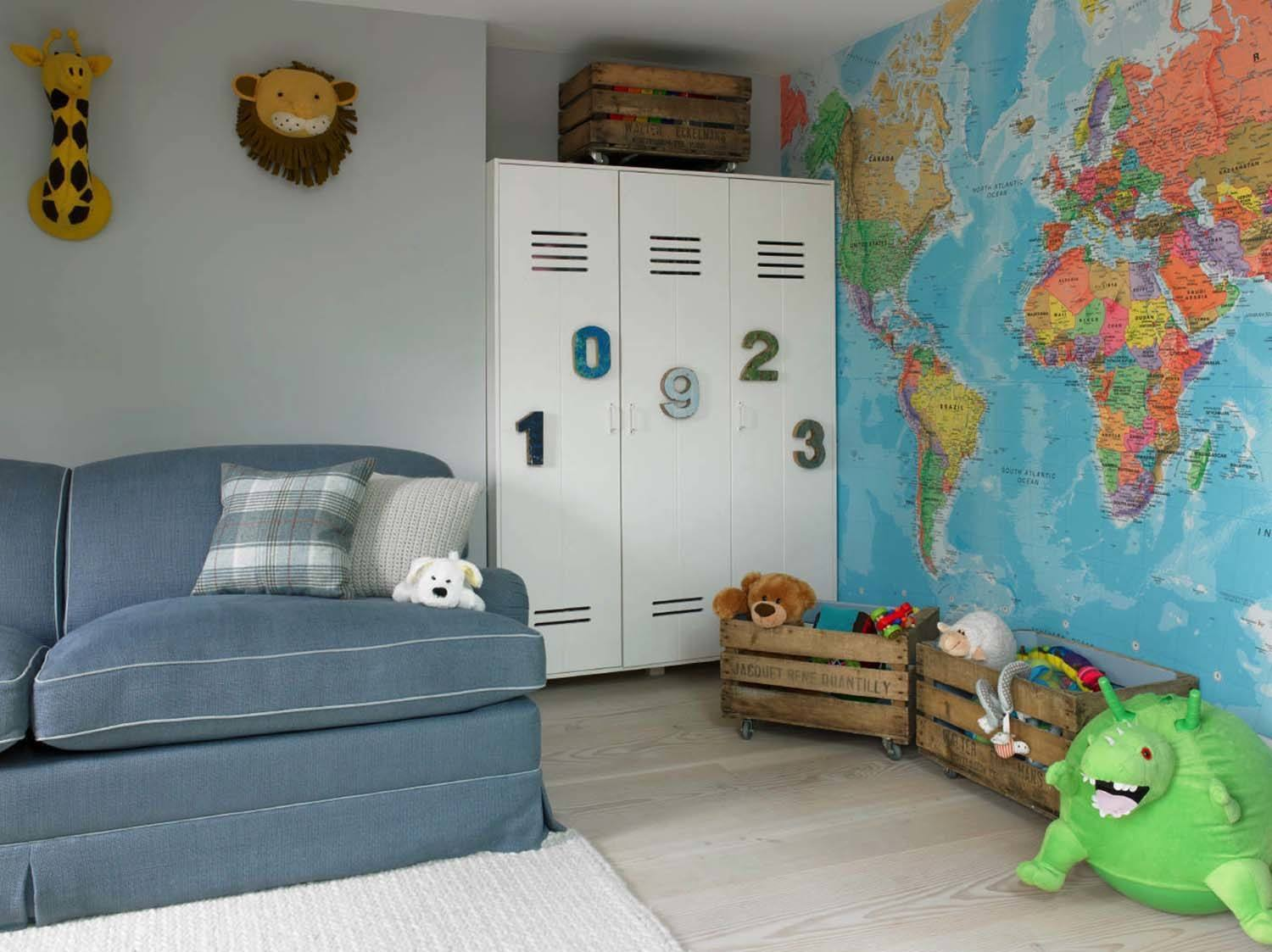 play room with map feature wall