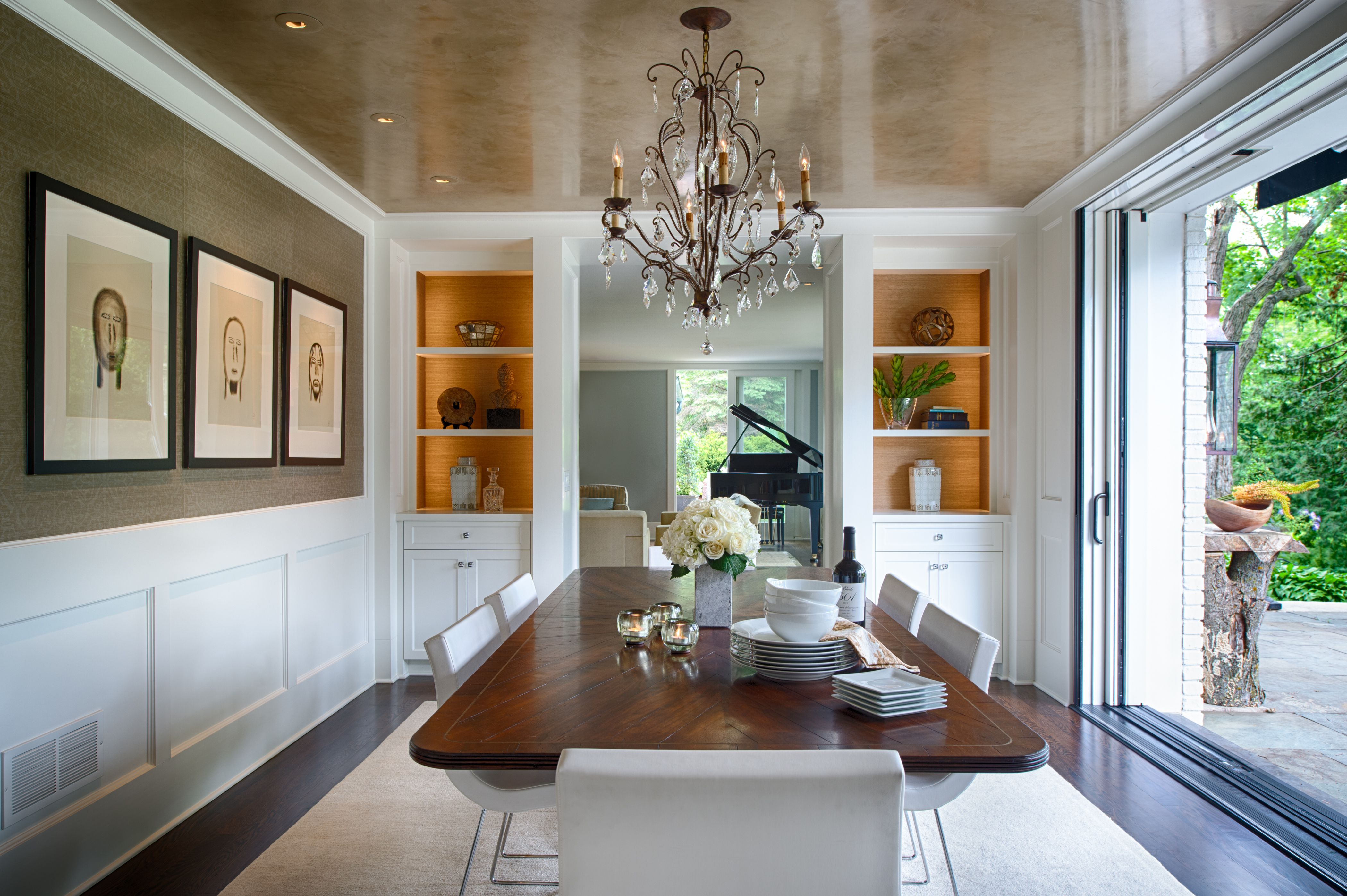 Faux stone painted ceiling in formal dining room