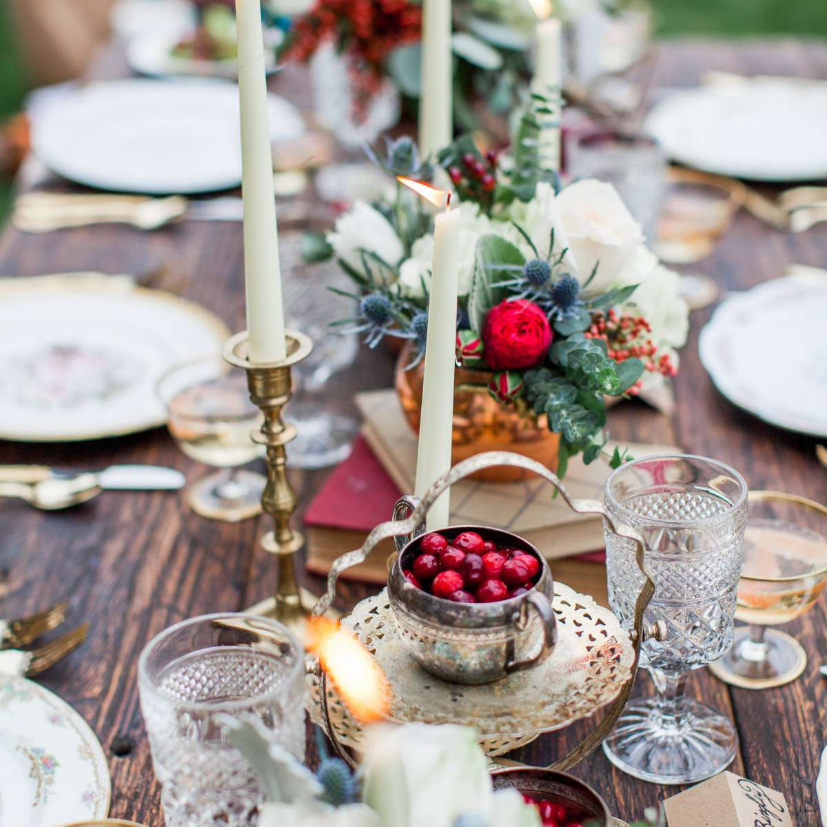 Red Rose, Thistle, and Cranberry Winter Wedding Centerpiece