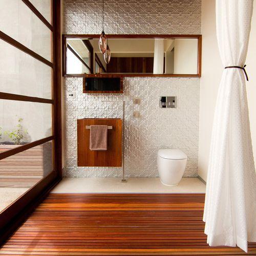 Wood slat bathroom