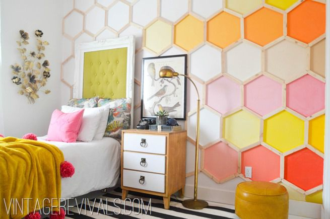 DIY Honeycomb accent wall for girl's room