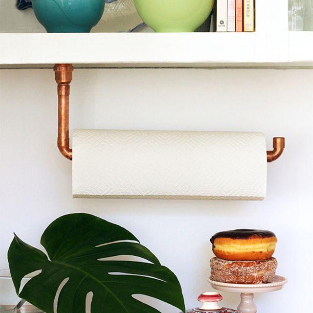 DIY copper paper towel holder