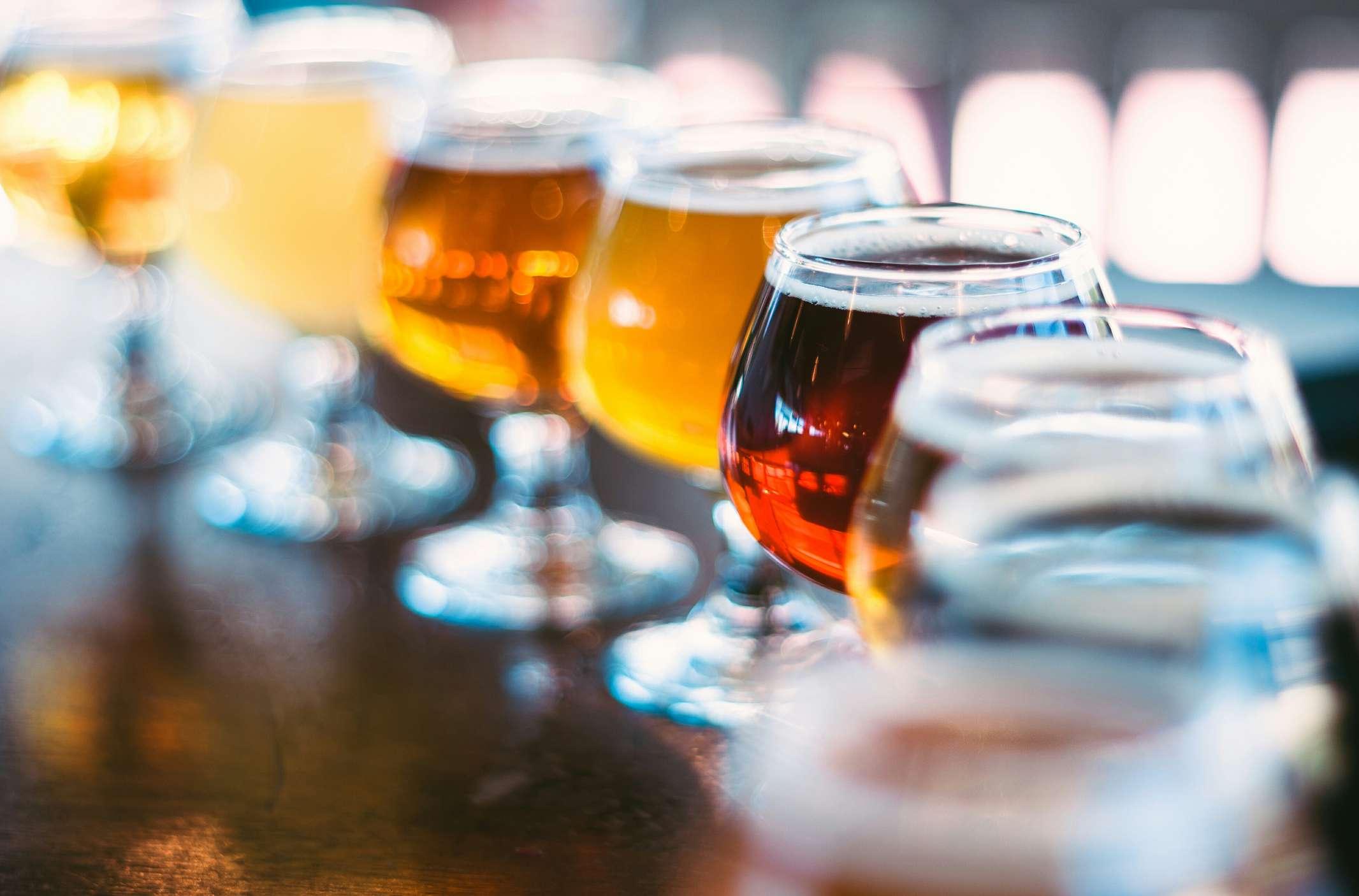Vuelo de diferentes cervezas