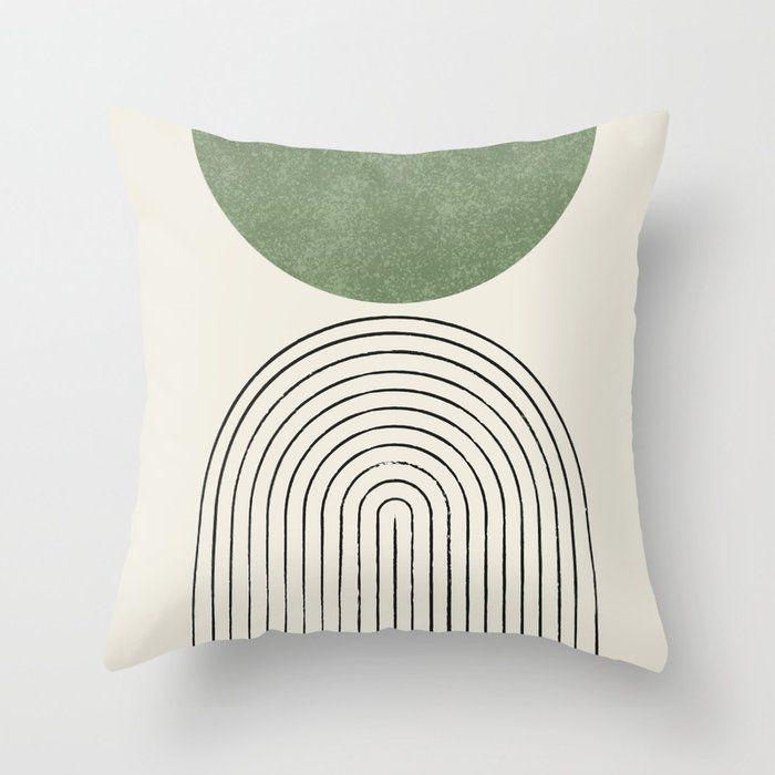 Society6 Arch Balance Green Throw Pillow