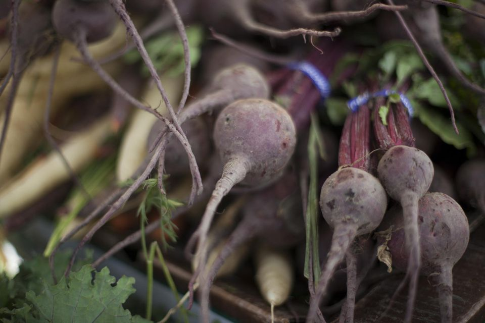 Organic beets on display