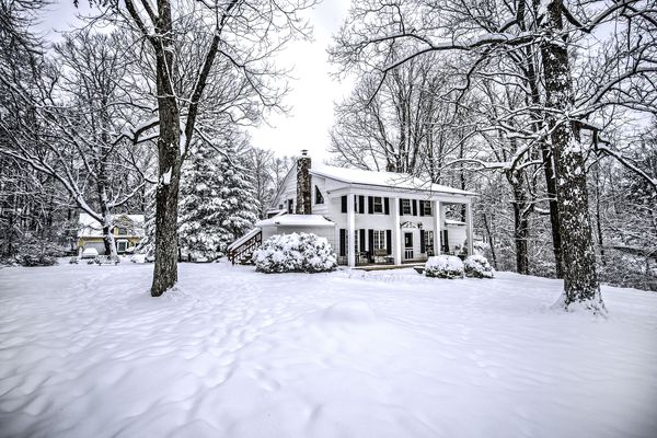 Classic house in fresh snow