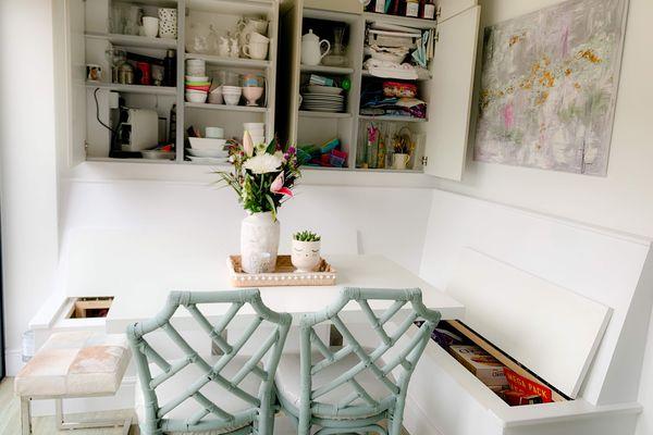 Kitchen with secret bench storage solutions
