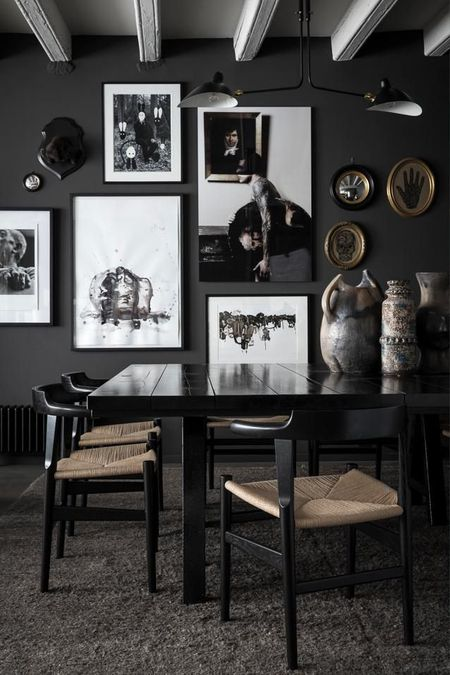 8 Black Dining Rooms With A Gallery Wall