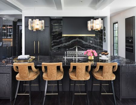 Glam Black Kitchen With Countertop