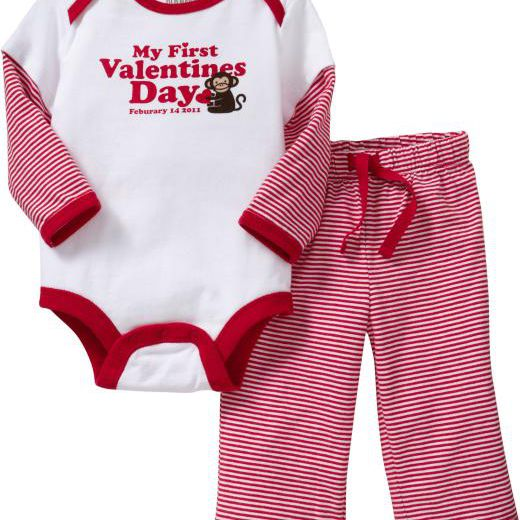 "Baby clothes that read ""My First Valentine's Day"""