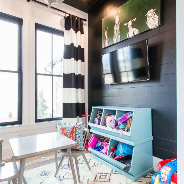 blue cubbies in a modern farmhouse playroom