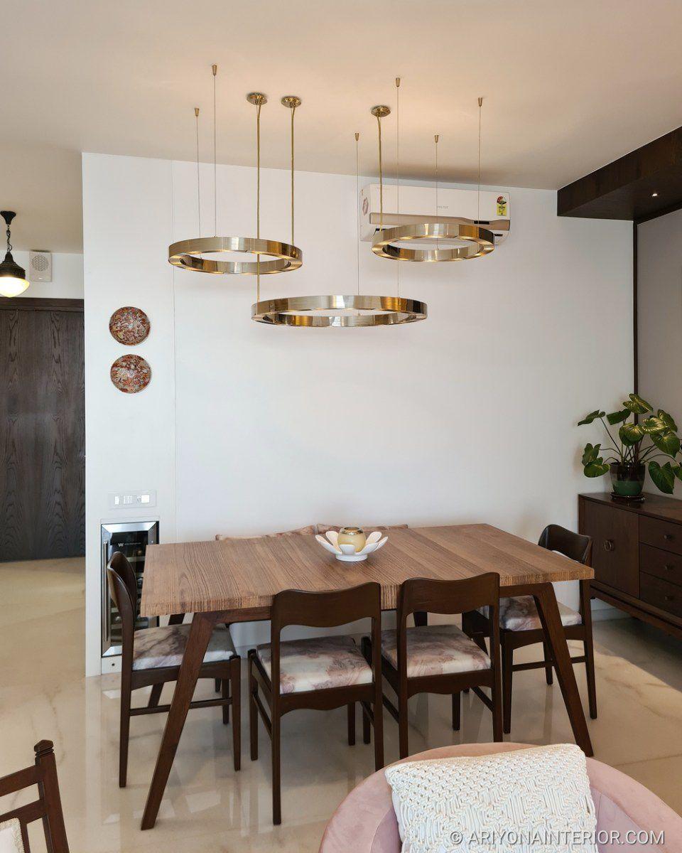 mid century glam dining area
