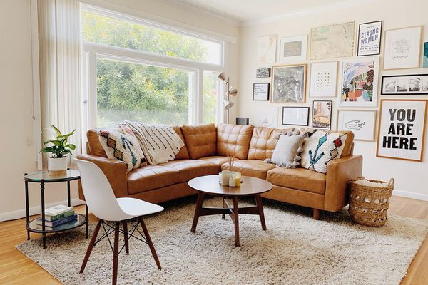 Living room with warm white paint