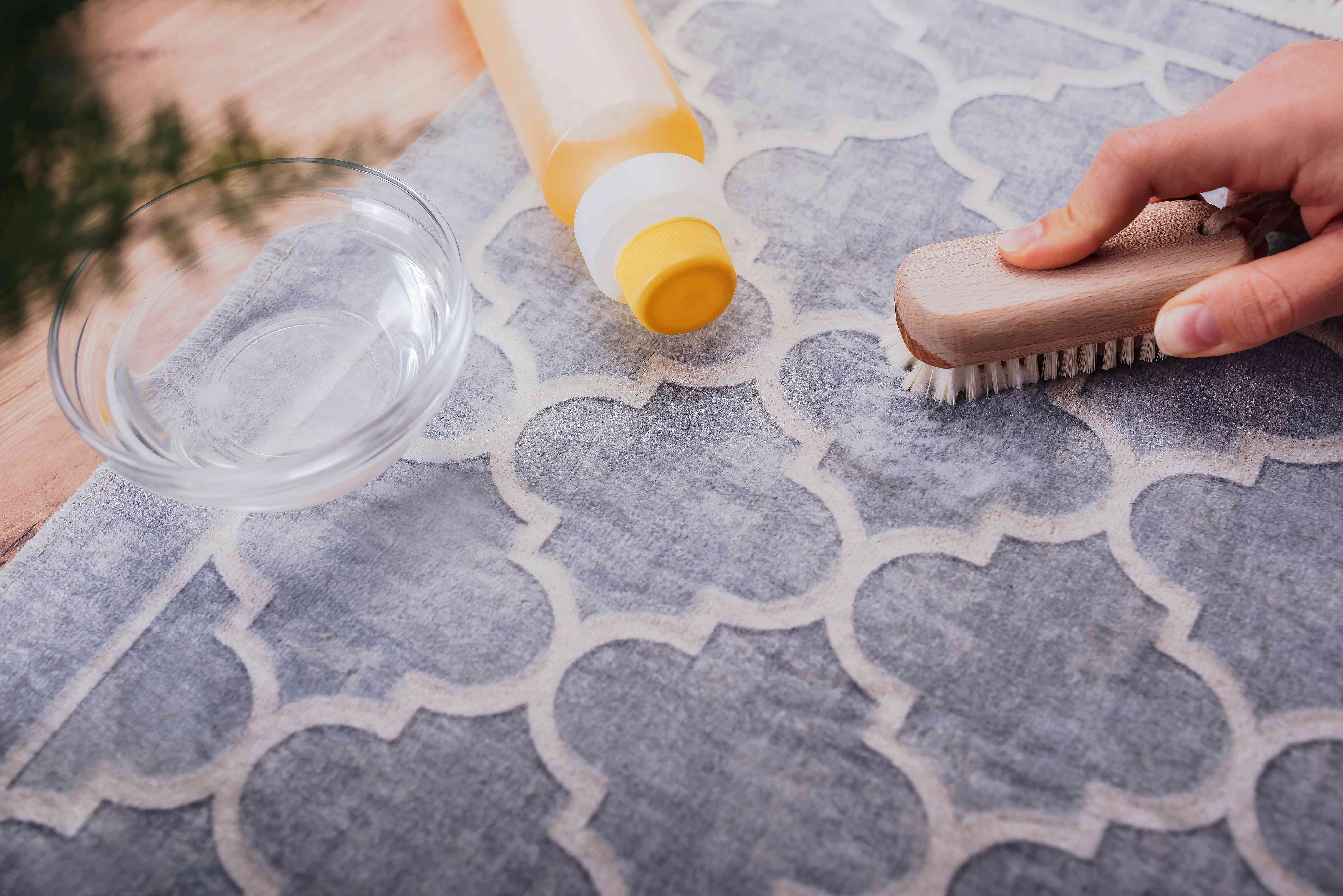applying detergent to a sap stain on a carpet