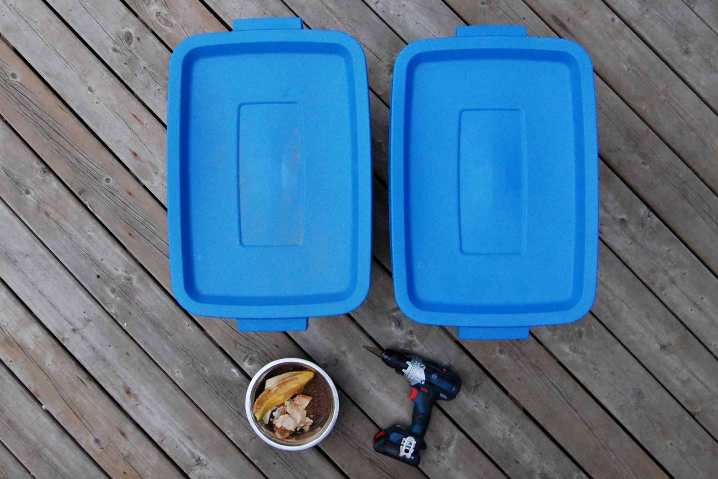 materials for making a compost bin from a plastic container