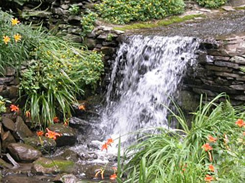 Garden waterfall with nearby plants.