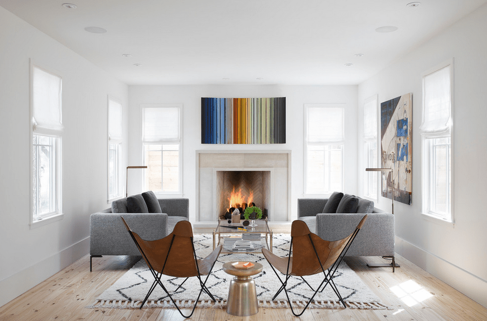 Modern Living Room With White Fireplace