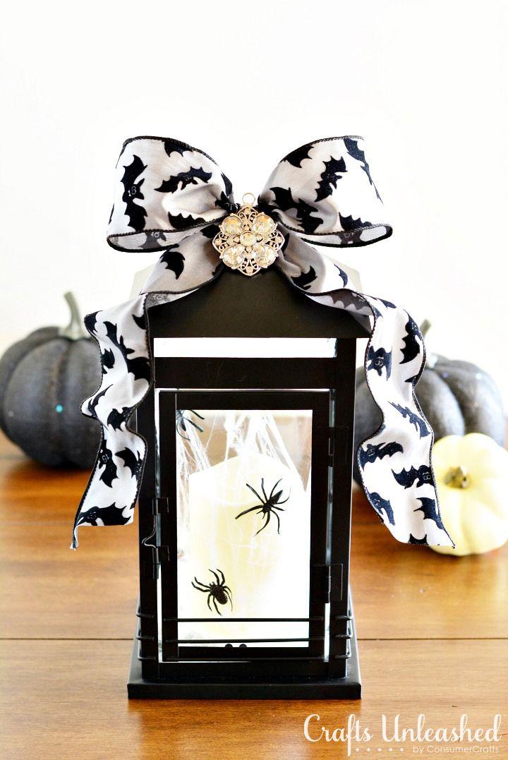 A lantern with a Halloween ribbon
