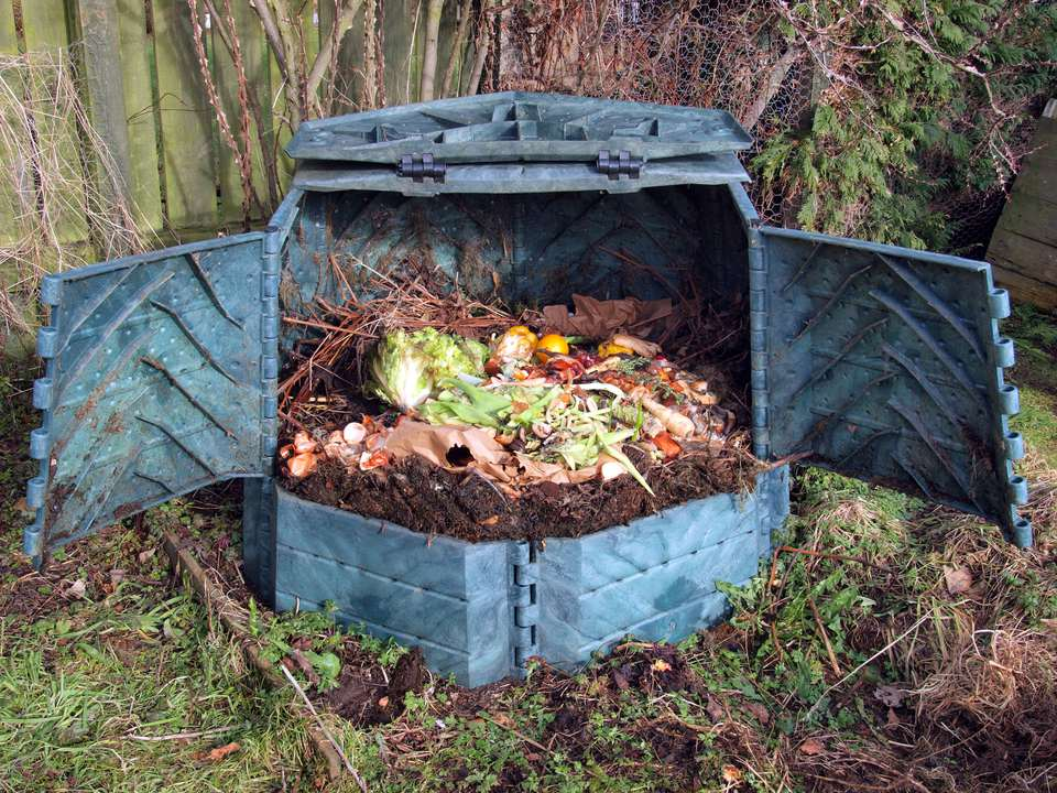 Plastic compost bin full of kitchen scraps
