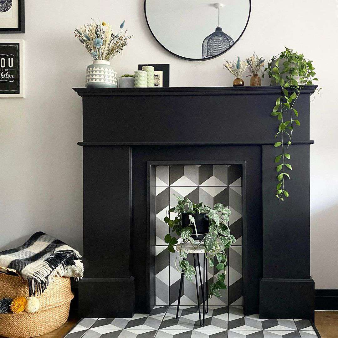 plant stand and tile in fireplace