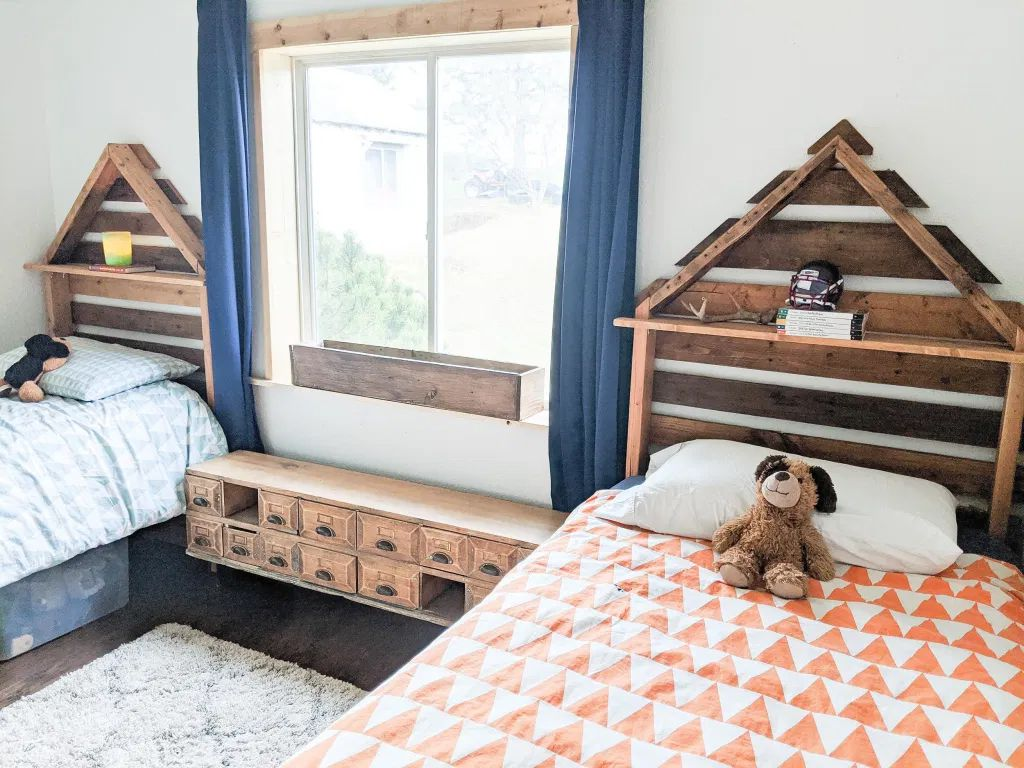 Two twin beds made with pallets