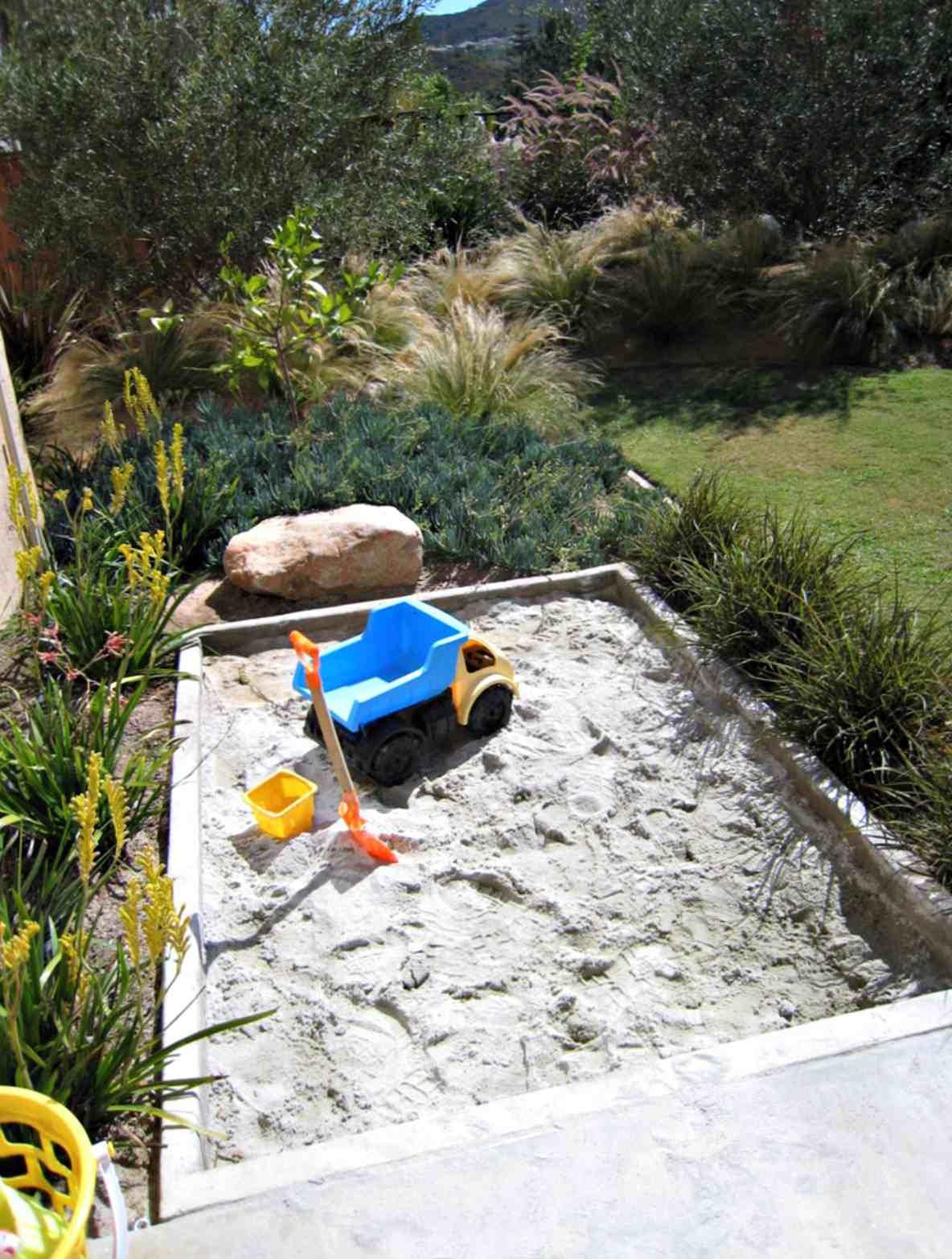 sandbox for children in yard