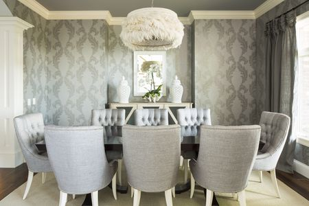 Gray Painted Ceiling In Dining Room With Wallpaper
