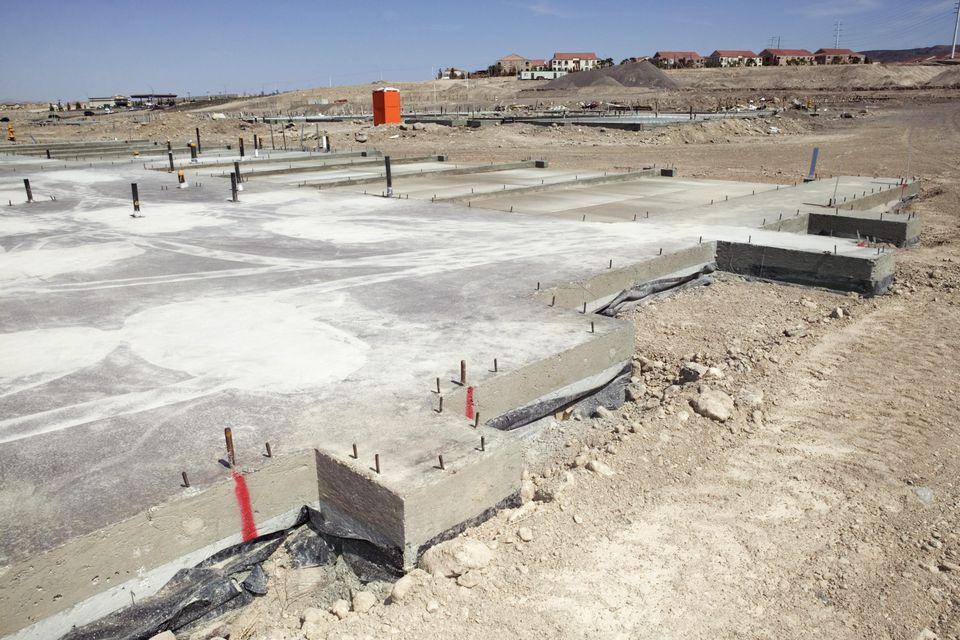 A concrete foundation in the desert