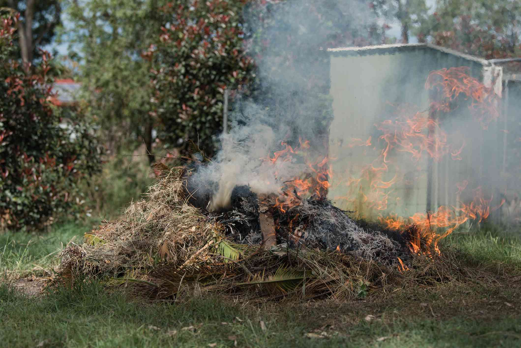 Fire controlled burn off of garden waste