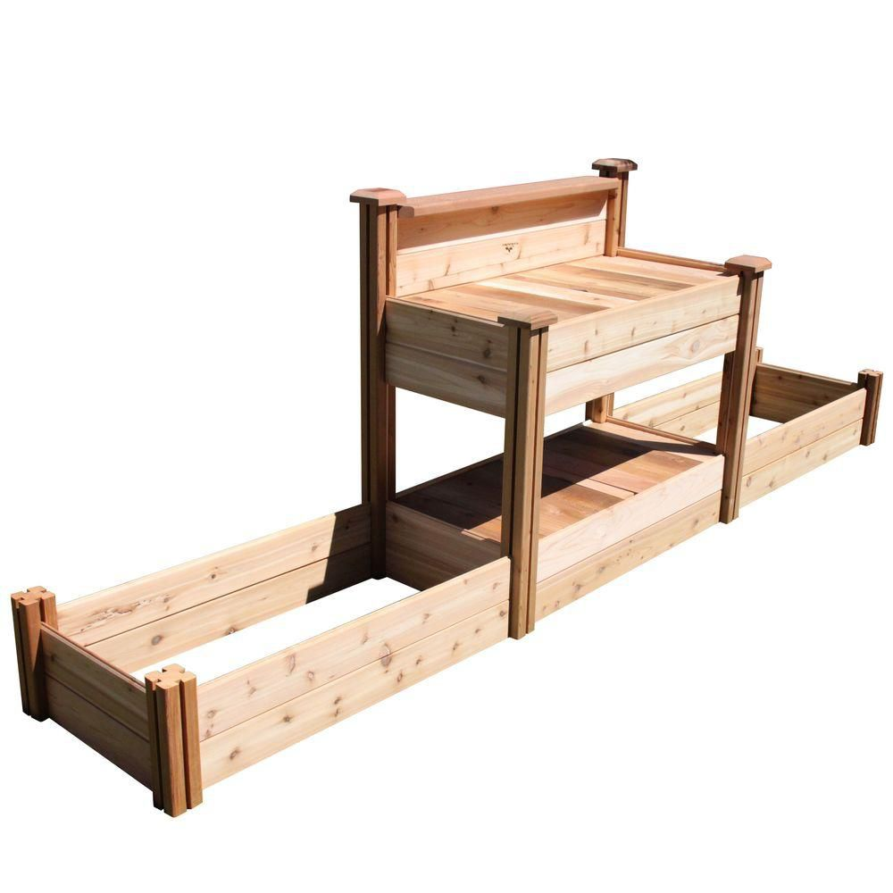 Gronomics 24 in. x 144 in. x 48 in. Tool Free Assembly Potting Bench with Raised Garden Bed