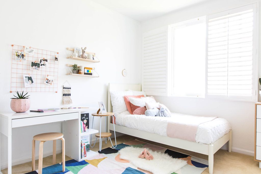 girl's room with dedicated work space