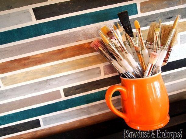 An artistically painted backsplash