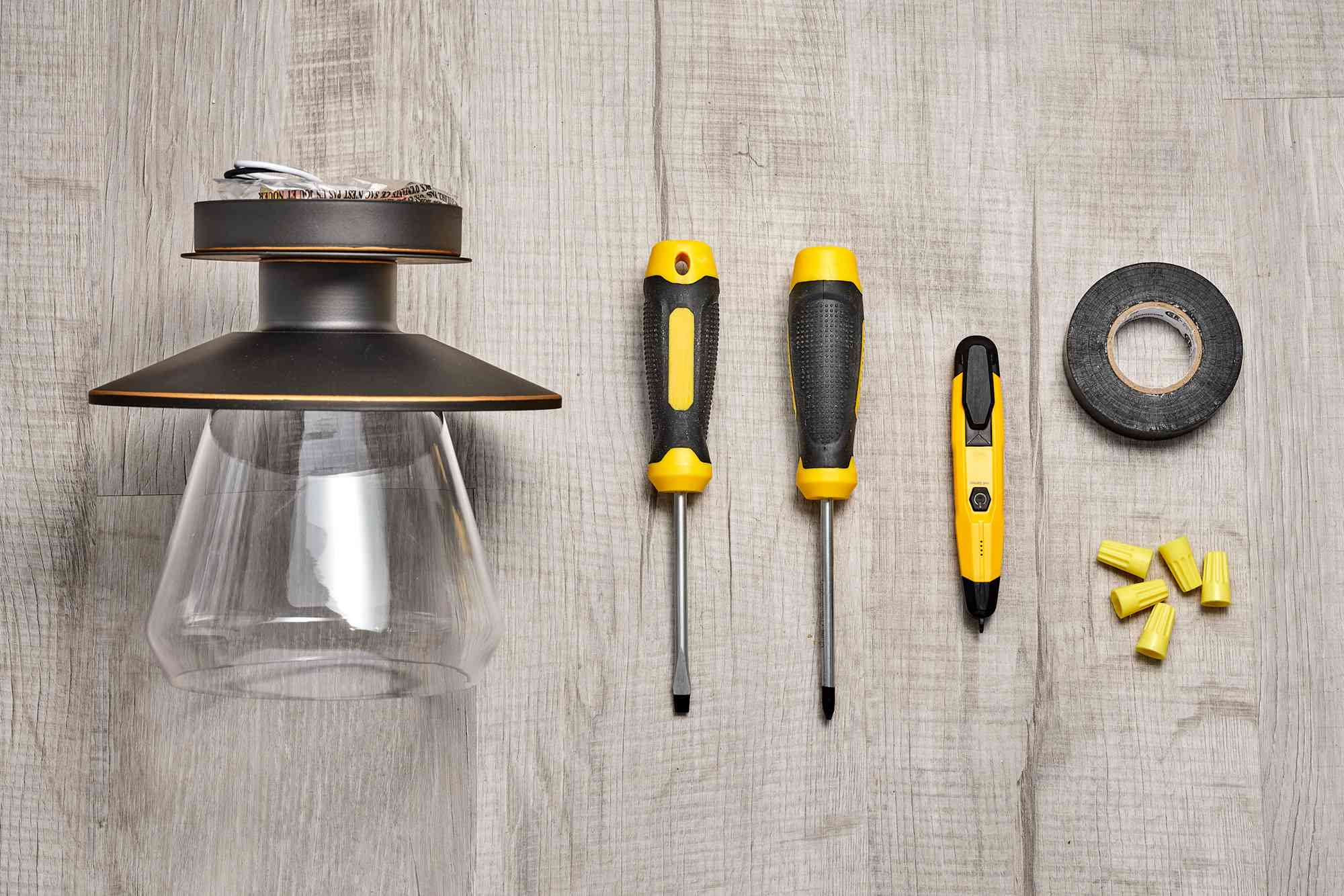 Materials and tools to replace ceiling light fixture