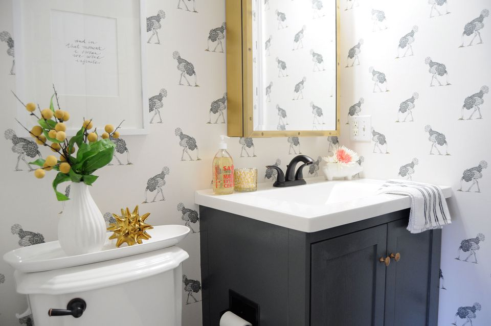 wallpaper powder room black vanity