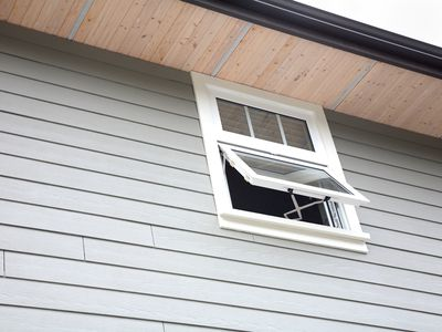 New House Siding, Open Window And Soffits