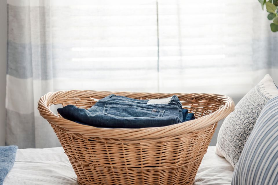 completed laundry in a basket